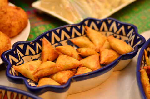 Samosa a traditional dish of South Asia, made with potato wrapped in a flour sheet